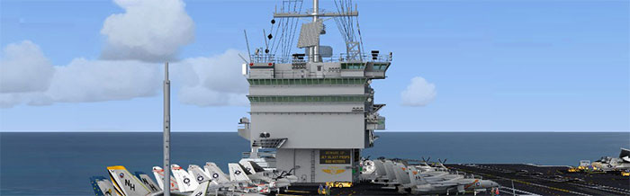 Carrier control tower and aircraft on flight deck