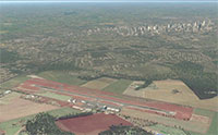 Aerial view of cascavel airport and surrounding town.