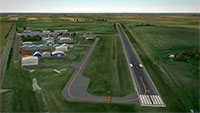 Aerial view of the runway and airport.