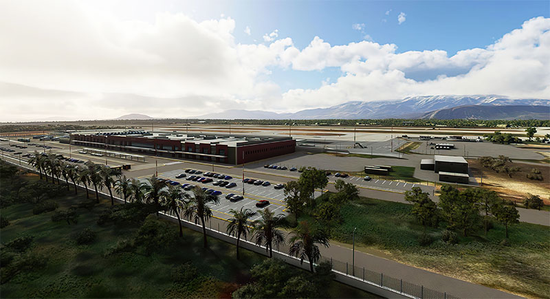 Overview of Chania (LGSA) airport in Crete being displayed in Microsoft Flight Simulator.