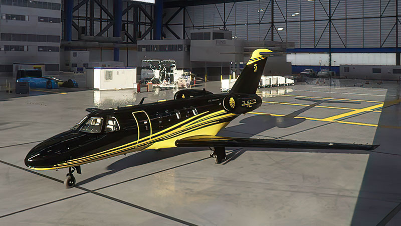 An example of a black/gold freeware repaint of the default Cessna Citation CJ4 in MSFS.