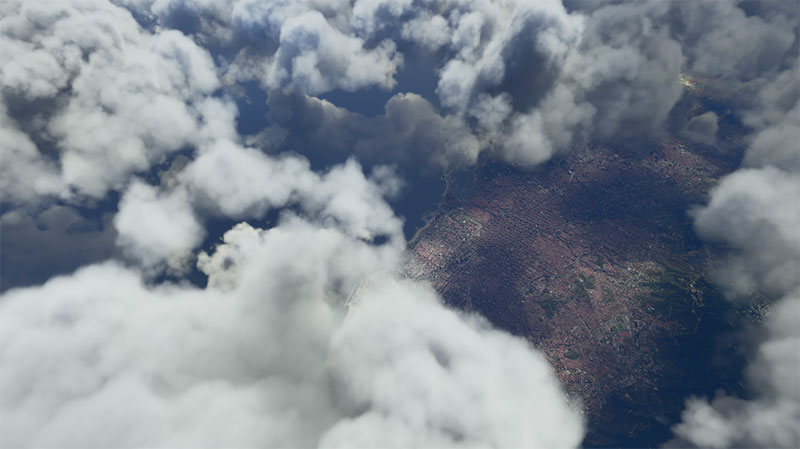 Clouds over Barcelona - a sneak peek from MSFS or FS2020.