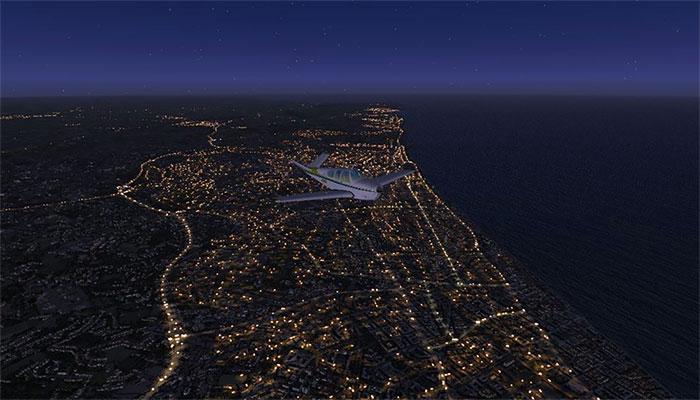 Coastline at night.