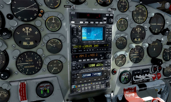 Close-up of the 3D cockpit
