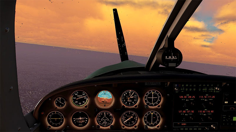 Cockpit at dusk in FSW.