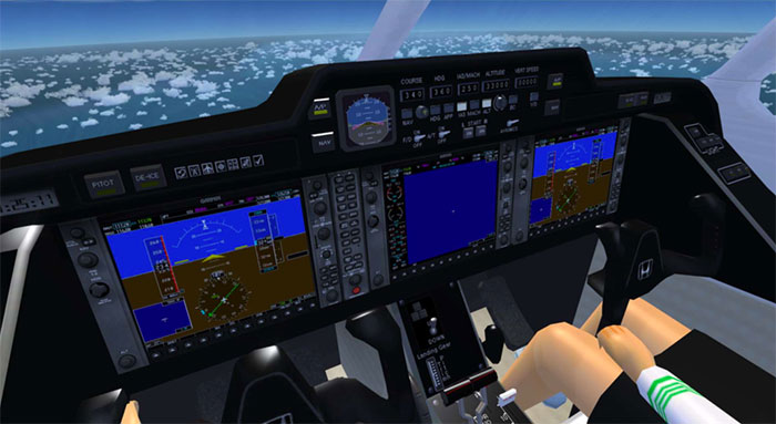 The same cockpit displayed in FSX
