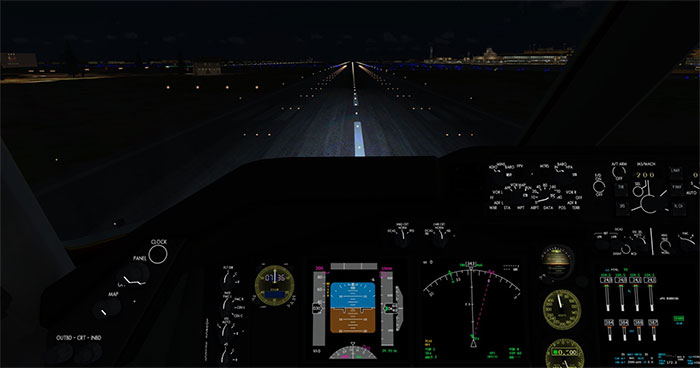 Cockpit at night performing takeoff