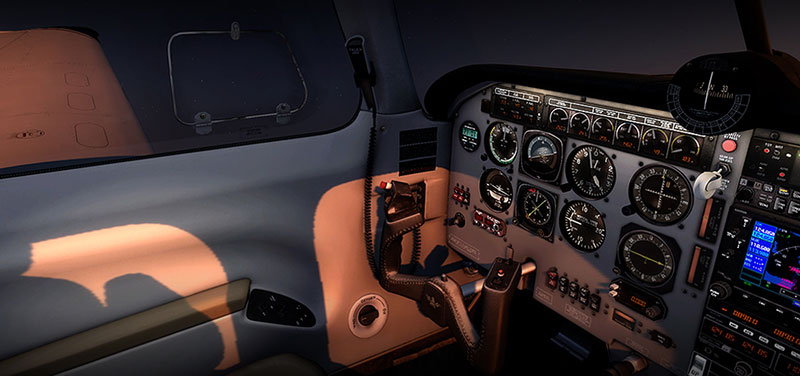 Cockpit at night.