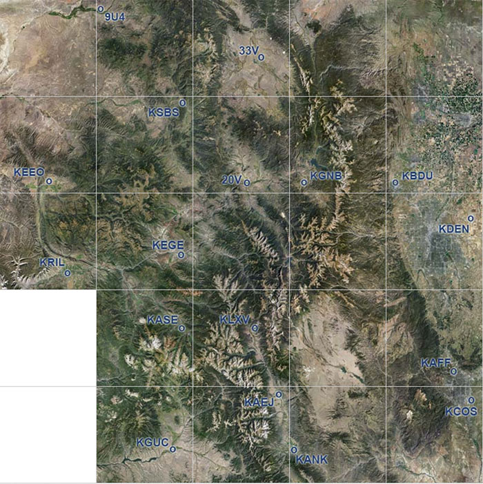 Colorado scenery coverage map.