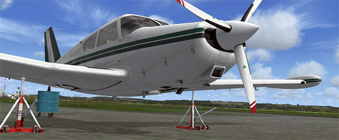 Aircraft on stands with landing gear retracted