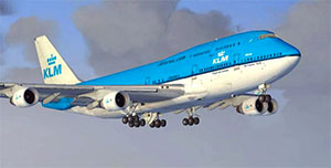 KLM 747 on landing approach