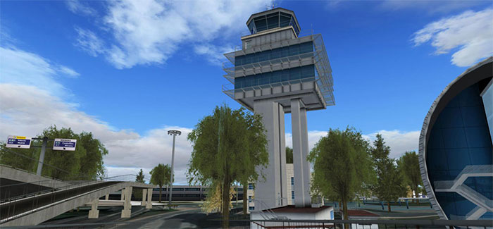 Control tower and roads at the airport