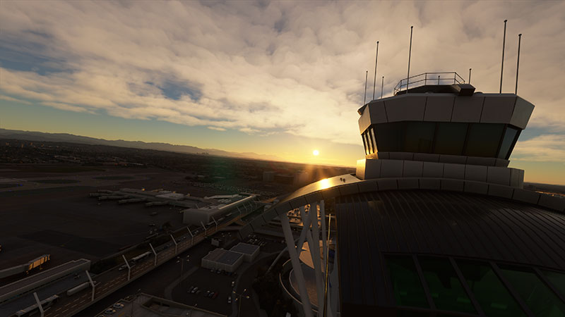 Airport control tower at sunset.