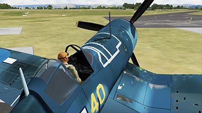 Screenshot showing the F4U-1a in Prepar3D v5.
