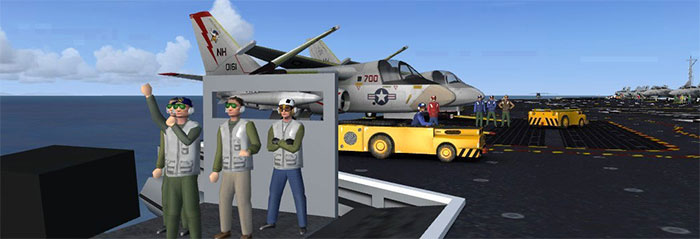 Military crew on flight deck