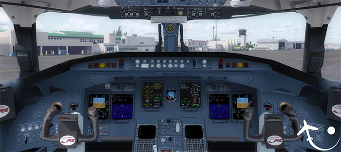 The 3D virtual cockpit.