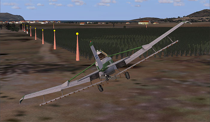 Crop-dusting while using the add-on in FSX.