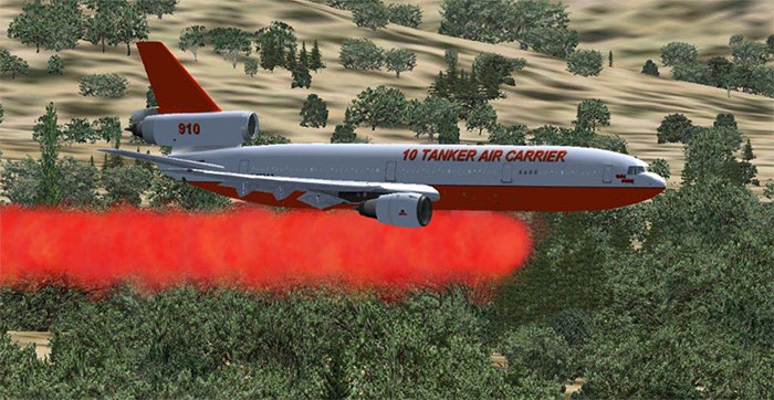 DC-10 tanker dropping its load over a wildfire.