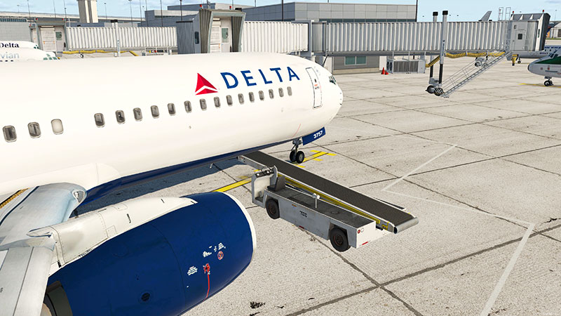 Delta 737 on ramp in X-Plane 11 with the add-on installed.