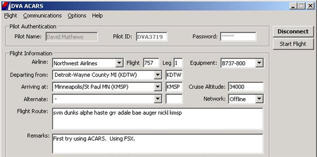 Delta Virtual's ACARS software