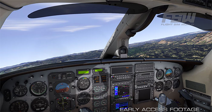 A highly detailed 3D virtual cockpit.