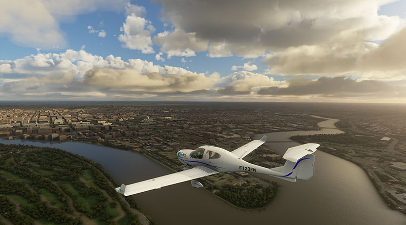 Diamond DA40 in flight over Washington D.C