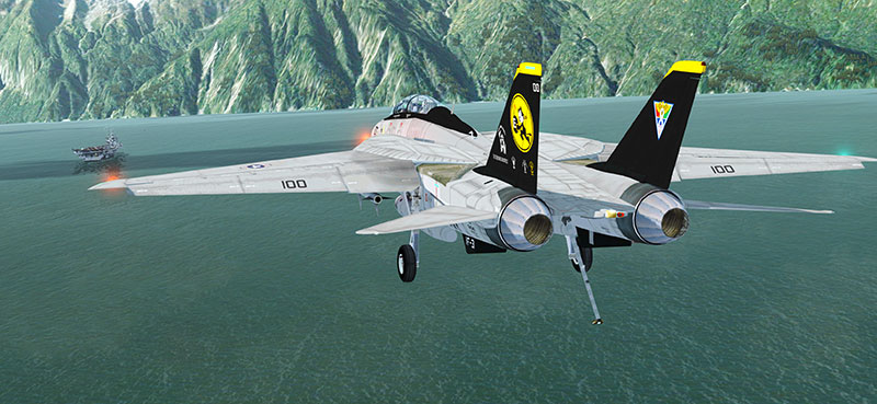 F-14 Tomcat in P3Dv4 approaching aircraft carrier.