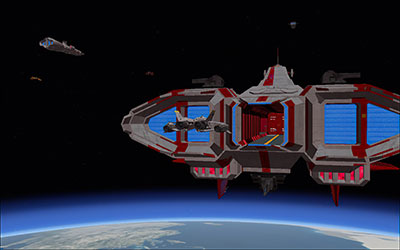 Docking with one of the AI ships in FSX.