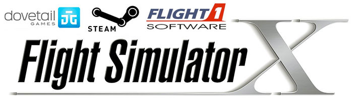 Image showing the logos of Dovetail Games, Steam, Flight1 and Microsoft Flight Simulator X