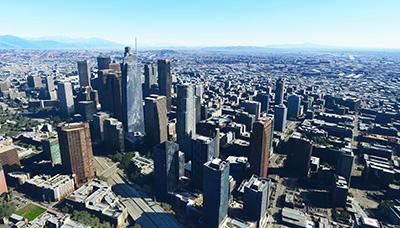 Downtown LA missing buildings in MSFS.