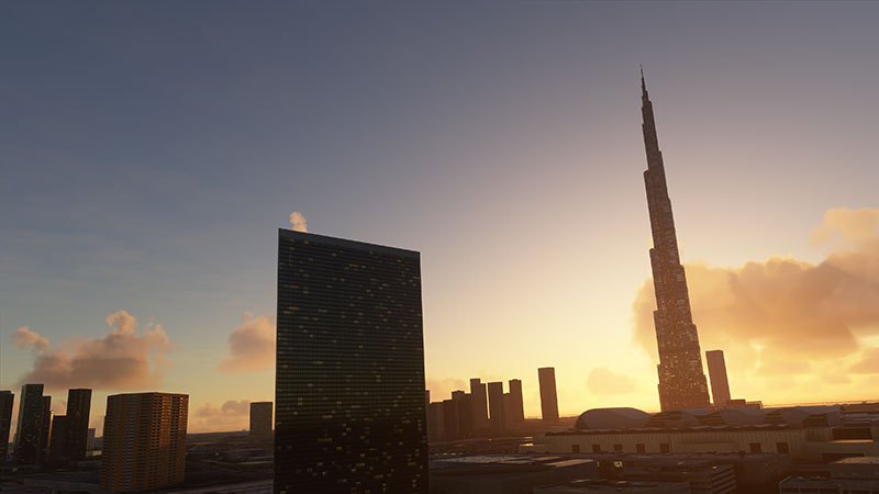 Dubai Cityscape in Microsoft Flight Simulator.