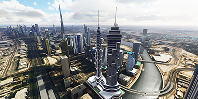 An overview of the city of Dubai after installing this scenery pack in MSFS (2020).