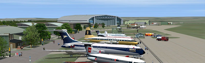 Demonstration of a Duxford scenery add-on in FSX.