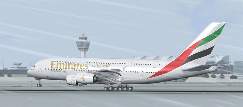 Emirates A380 in FSX.