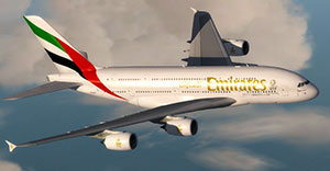 The Emirates A380 being flown in P3Dv4.