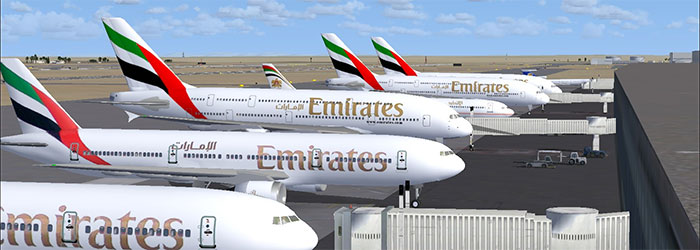 Emirates AI aircraft at terminal