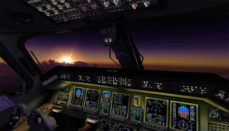 Cockpit of an ERJ-135