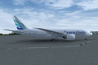 Screenshot of euroAtlantic Boeing 777-200LR on the ground.