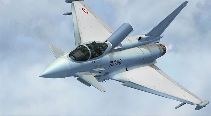 Eurofighter aircraft in flight in FSX