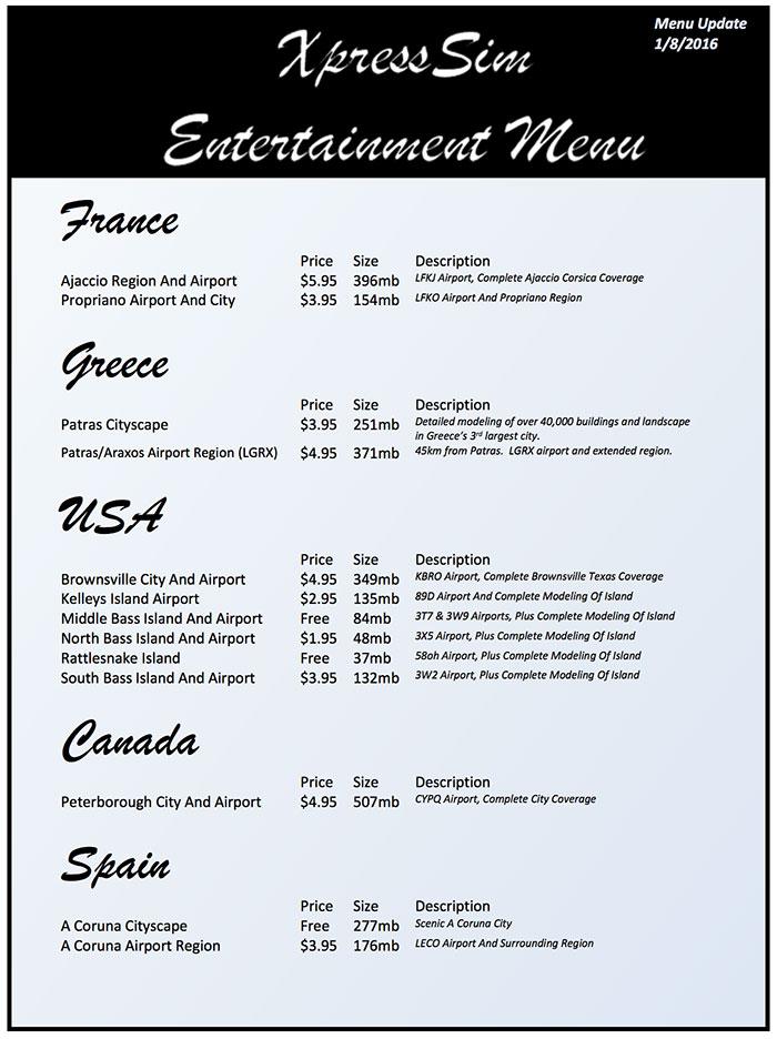 XpressSim scenery menu.