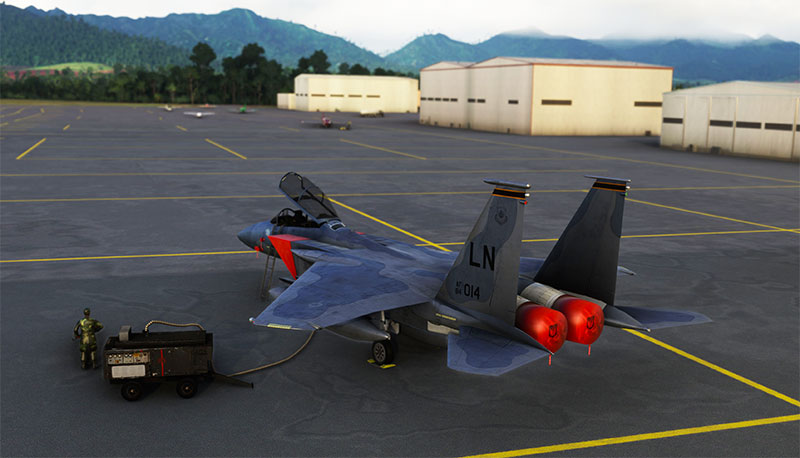 F-15 being refueled on ramp in MSFS 2020.