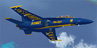 F-18 Hornet Blue Angels over ocean in FSX.