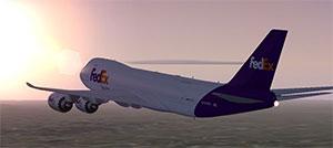 Fedex 747 flying into sunset
