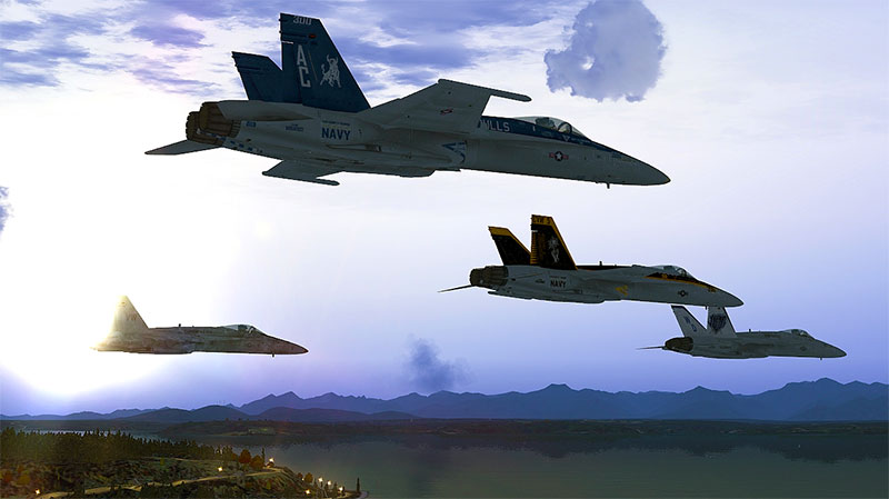 Fighters flying over water in FSX demonstrating the realistic sky and water textures available to download.