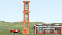 Animated fire tower with fire engine and fire station.