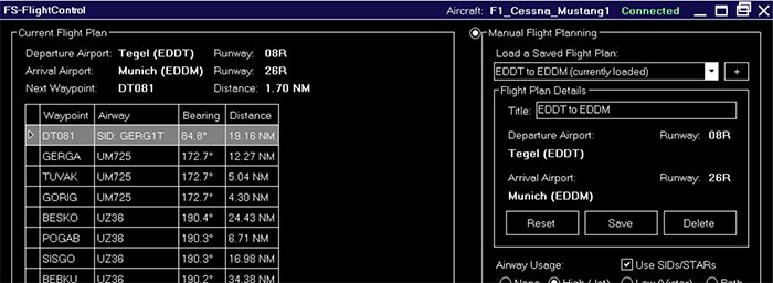 Flight Plan screen