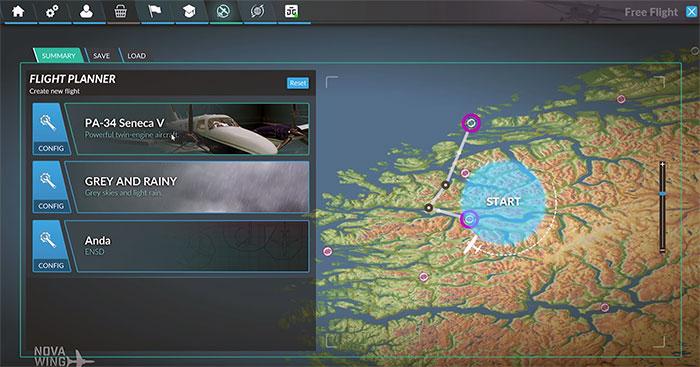 Flight Planner menus.