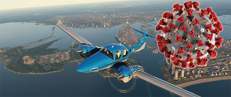 Image showing an aircraft in Microsoft Flight Simulator and a Coronavirus image.