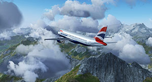 A British Airways Airbus being flown in the latest version of the free FlightGear simulator.