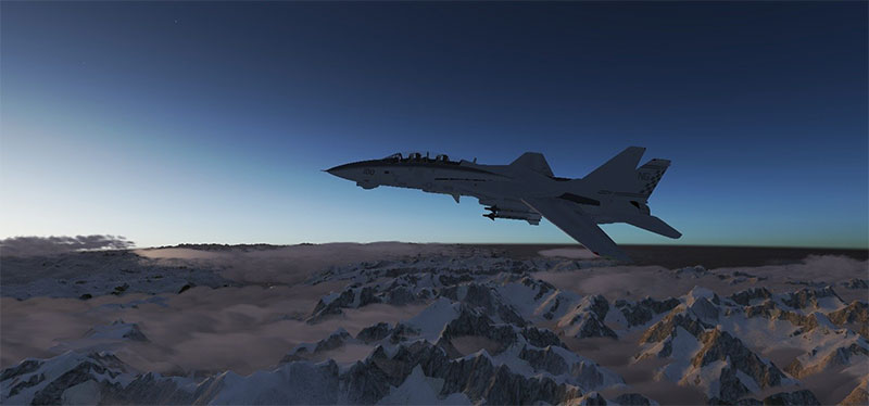 Screenshot showing military aircraft in FlightGear v2.10.